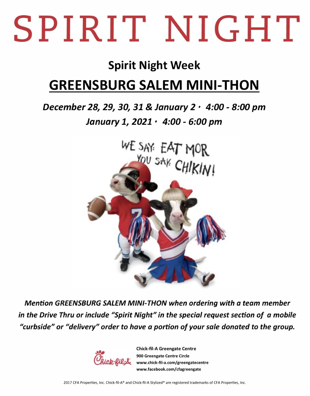 chick fil a spirit night